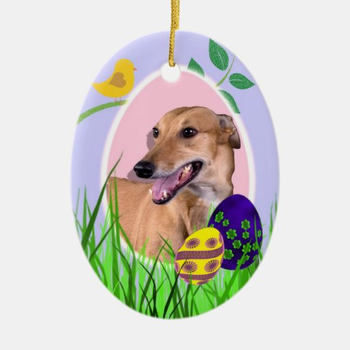 Ornamento de Pascua del galgo Adorno Navideño Ovalado De Cerámica