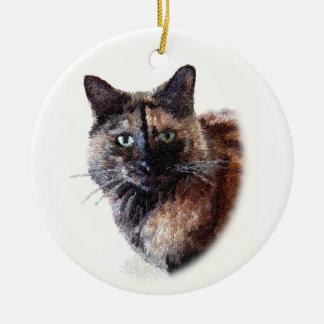 Ornamento de pelo largo del gato de la concha ornamentos de navidad