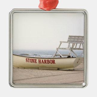 Ornamento de piedra del barco del salvavidas del adorno cuadrado plateado