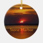 Ornamento de piedra del puerto adorno navideño redondo de cerámica