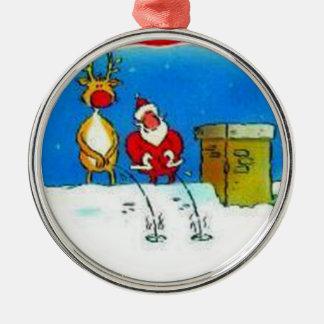 Ornamento de pis del árbol de navidad de Santa Adorno Navideño Redondo De Metal
