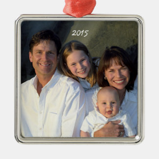 Ornamento de plata cuadrado de la foto de familia ornamento de navidad
