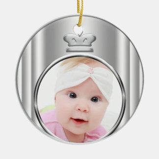 Ornamento de plata de la foto de la niña de adorno navideño redondo de cerámica