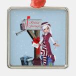 Ornamento de plata de los regalos del buzón del adorno navideño cuadrado de metal