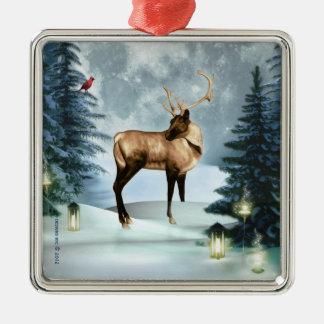 Ornamento de plata de Squar de la escena del Ornamentos De Navidad