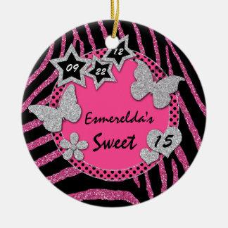 Ornamento de plata negro rosado de la foto del adorno navideño redondo de cerámica