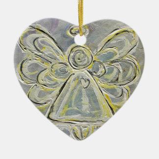 Ornamento de plata y blanco del ángel adornos