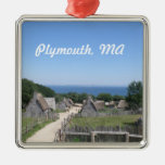 Ornamento de Plymouth Adorno Navideño Cuadrado De Metal