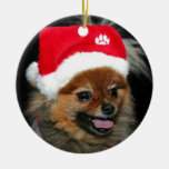 Ornamento de Pomeranian del navidad Adorno Navideño Redondo De Cerámica