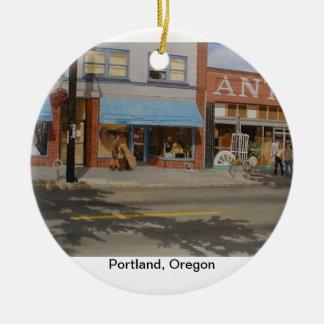 Ornamento de Portland Oregon Adorno Navideño Redondo De Cerámica