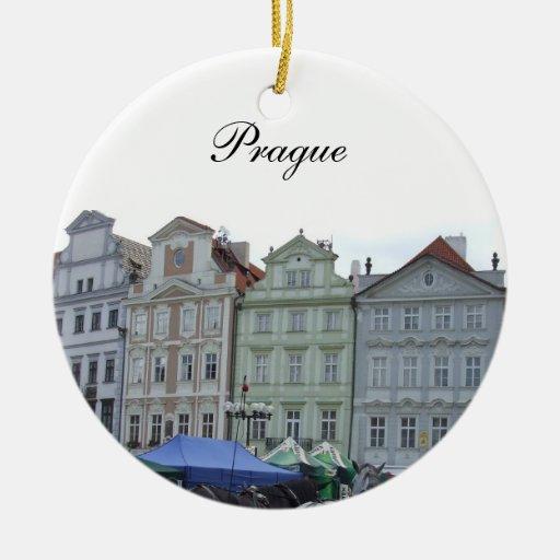 Ornamento de Praga Adorno Navideño Redondo De Cerámica