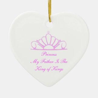 Ornamento de princesa My Father Is rey navidad Adorno Navideño De Cerámica En Forma De Corazón