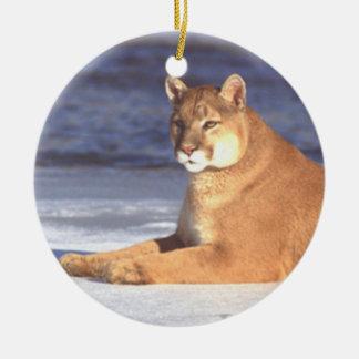 Ornamento de reclinación del puma adorno para reyes