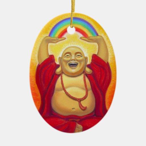 Ornamento de risa del arco iris de Buda Adorno De Navidad