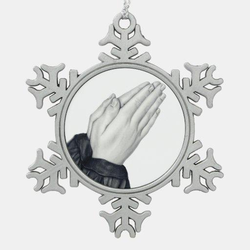 Ornamento de rogación del copo de nieve de las man adorno de peltre en forma de copo de nieve