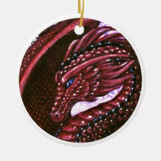 Ornamento de rubíes del dragón adorno navideño redondo de cerámica