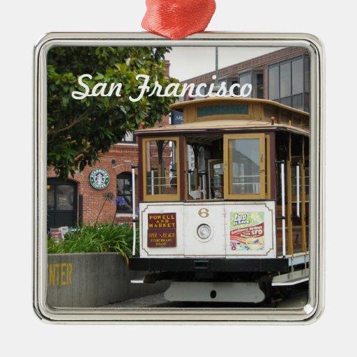 Ornamento de San Francisco Adorno Cuadrado Plateado