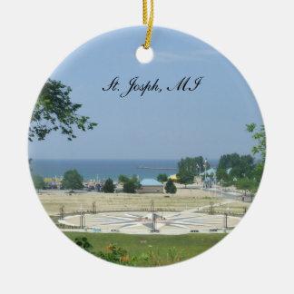 Ornamento de San José Michigan Adorno Redondo De Cerámica