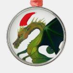 Ornamento de Santa del dragón Adorno Redondo Plateado