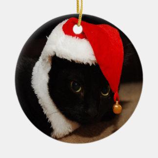 Ornamento de Santa del gatito Adorno Navideño Redondo De Cerámica