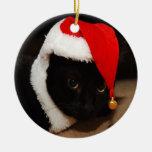 Ornamento de Santa del gatito Adorno Redondo De Cerámica