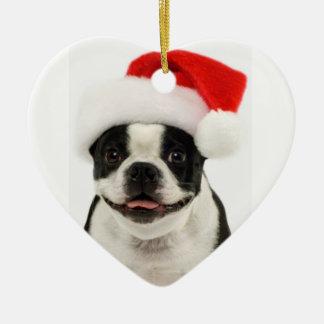 Ornamento de Santa del perro de Boston Terrier Ornamentos De Reyes Magos