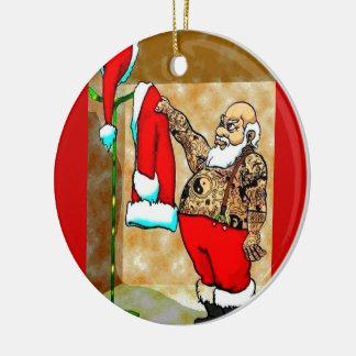 ornamento de santa del tatuaje ornamento para arbol de navidad