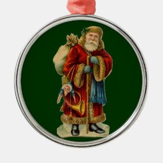 Ornamento de Santa del Viejo Mundo del vintage del Adorno Redondo Plateado
