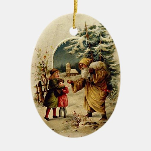 Ornamento de Santa del Viejo Mundo (oval) Ornamento Para Reyes Magos