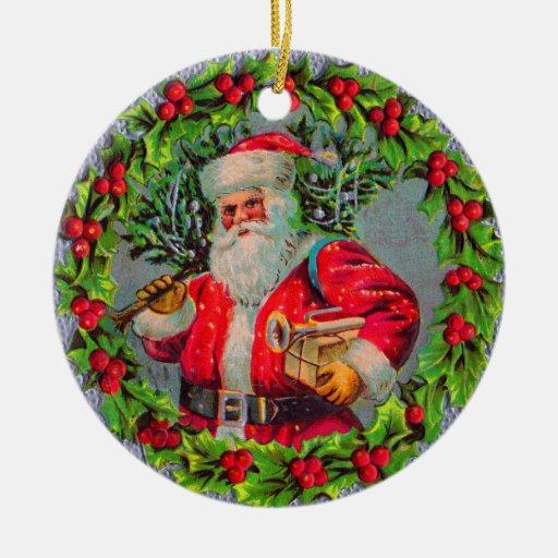 Ornamento de Santa del vintage Adornos De Navidad