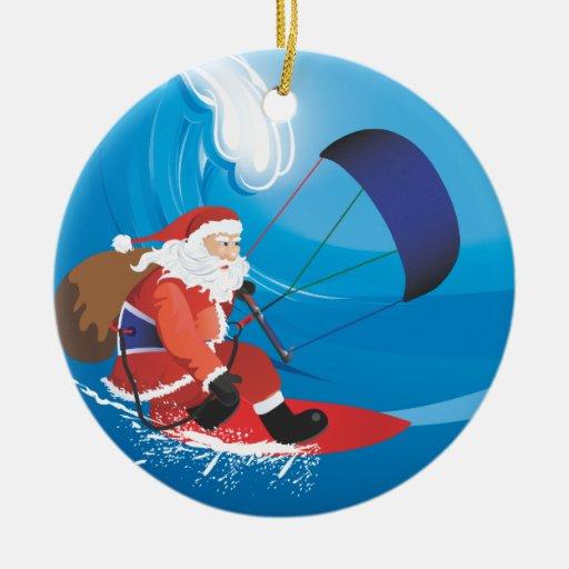 Ornamento de Santa Kitesurf Ornamento Para Arbol De Navidad
