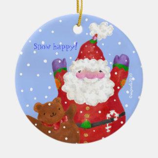 ornamento de santa y del peluche adorno navideño redondo de cerámica