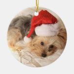 Ornamento de Santa Yorkie Ornaments Para Arbol De Navidad