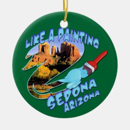Ornamento de Sedona Arizona Adorno Navideño Redondo De Cerámica