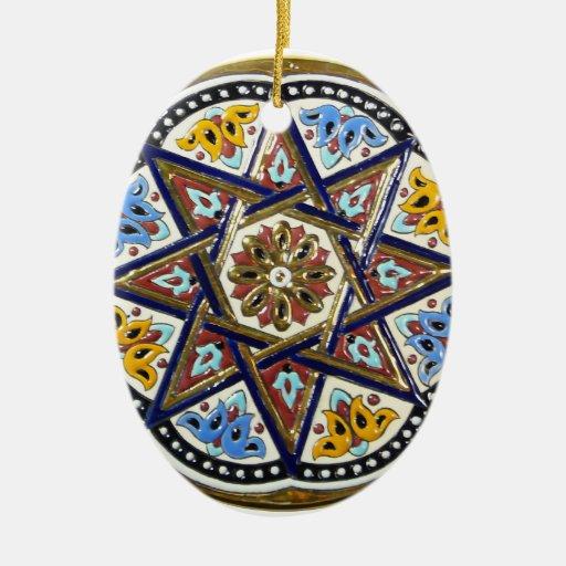 Ornamento de Sevilla Adorno Navideño Ovalado De Cerámica