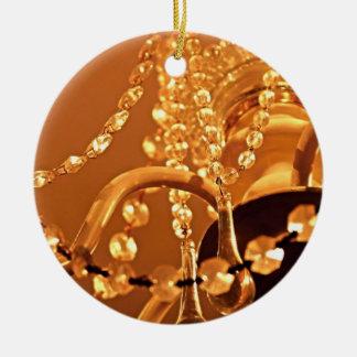 ORNAMENTO de Shabby-Chandelier-Bling-3-Gold-ROUND Adorno Navideño Redondo De Cerámica