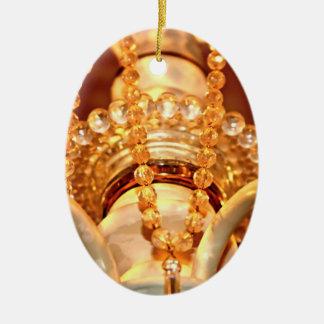 ORNAMENTO de Shabby-Chandelier-Bling-4-Gold-OVAL Adorno Navideño Ovalado De Cerámica