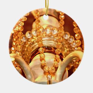 ORNAMENTO de Shabby-Chandelier-Bling-4-Gold-ROUND Adorno Navideño Redondo De Cerámica