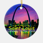 Ornamento de St. Louis Adorno Navideño Redondo De Cerámica