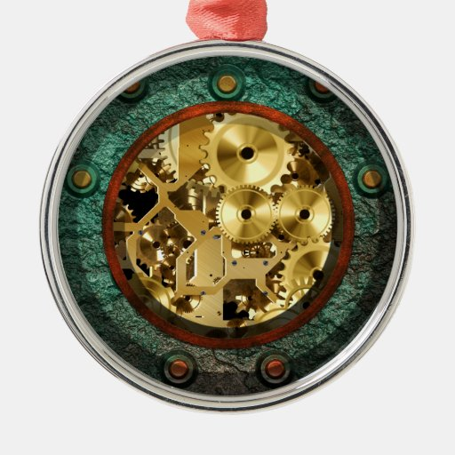 Ornamento de Steampunk 1B Adorno Redondo Plateado