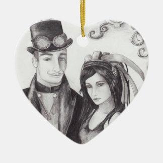 Ornamento de Steampunk del ornamento del boda de Adorno Navideño De Cerámica En Forma De Corazón
