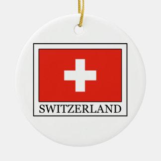 Ornamento de Suiza Adorno Navideño Redondo De Cerámica