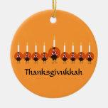 Ornamento de Thanksgivukkah Turquía Menorah Ornamentos De Navidad