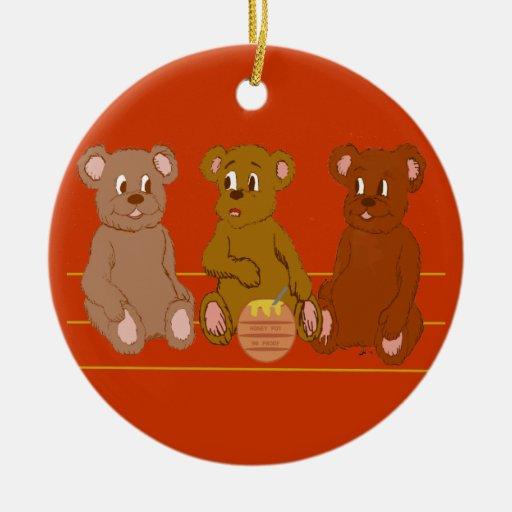 Ornamento de tres osos adorno navideño redondo de cerámica