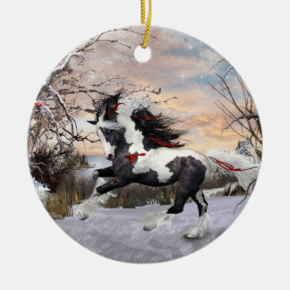 Ornamento de Vanner del gitano del caballo 2 del Adorno Navideño Redondo De Cerámica