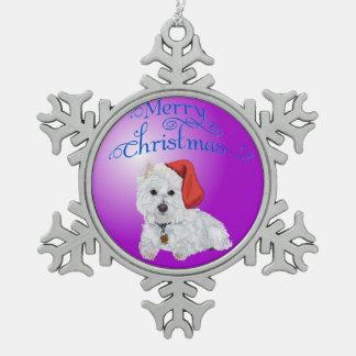 Ornamento de Westie de las Felices Navidad