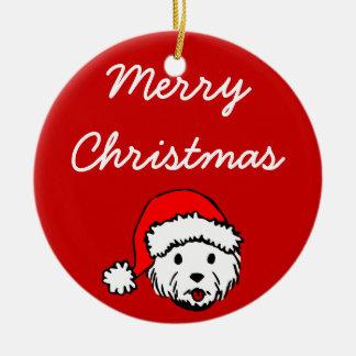 Ornamento de Westie de las Felices Navidad Adorno Navideño Redondo De Cerámica
