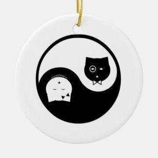 Ornamento de Yin Yang Adorno Navideño Redondo De Cerámica