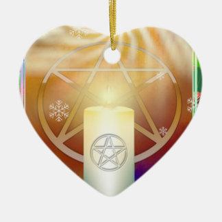Ornamento de Yule Sun Adorno Navideño De Cerámica En Forma De Corazón