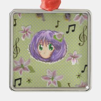 Ornamento de Yuriko de la flor del lirio de Kawaii Adorno Cuadrado Plateado